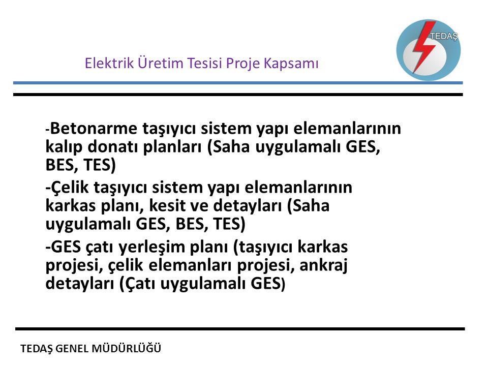 Elektrik Üretim Tesisi Proje Kapsamı - Betonarme taşıyıcı sistem yapı elemanlarının kalıp donatı planları (Saha uygulamalı GES, BES, TES) -Çelik taşıy