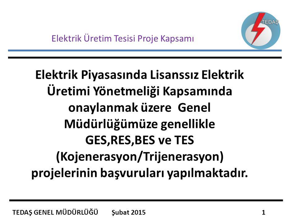 Elektrik Üretim Tesisi Proje Kapsamı Elektrik Piyasasında Lisanssız Elektrik Üretimi Yönetmeliği Kapsamında onaylanmak üzere Genel Müdürlüğümüze genel