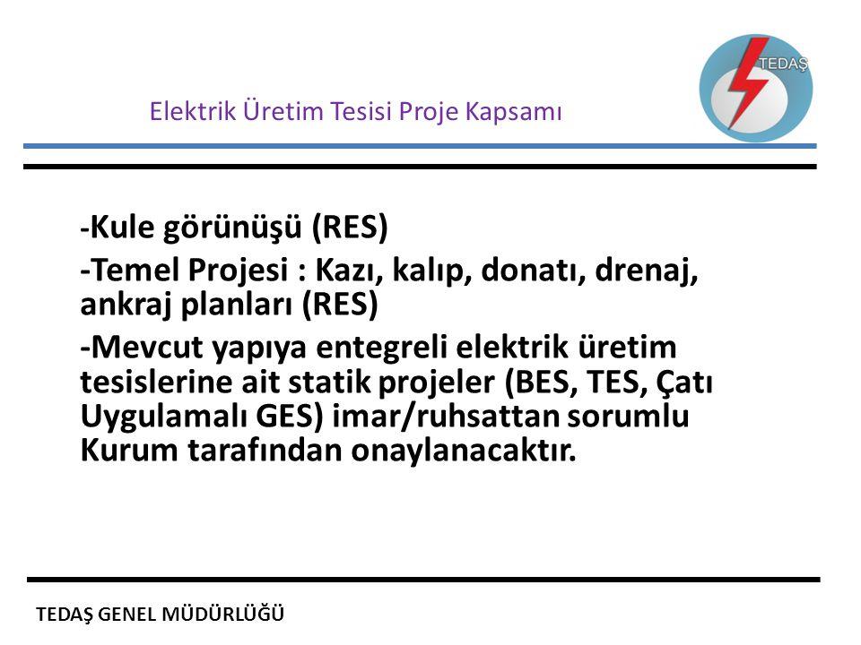 Elektrik Üretim Tesisi Proje Kapsamı - Kule görünüşü (RES) -Temel Projesi : Kazı, kalıp, donatı, drenaj, ankraj planları (RES) -Mevcut yapıya entegrel