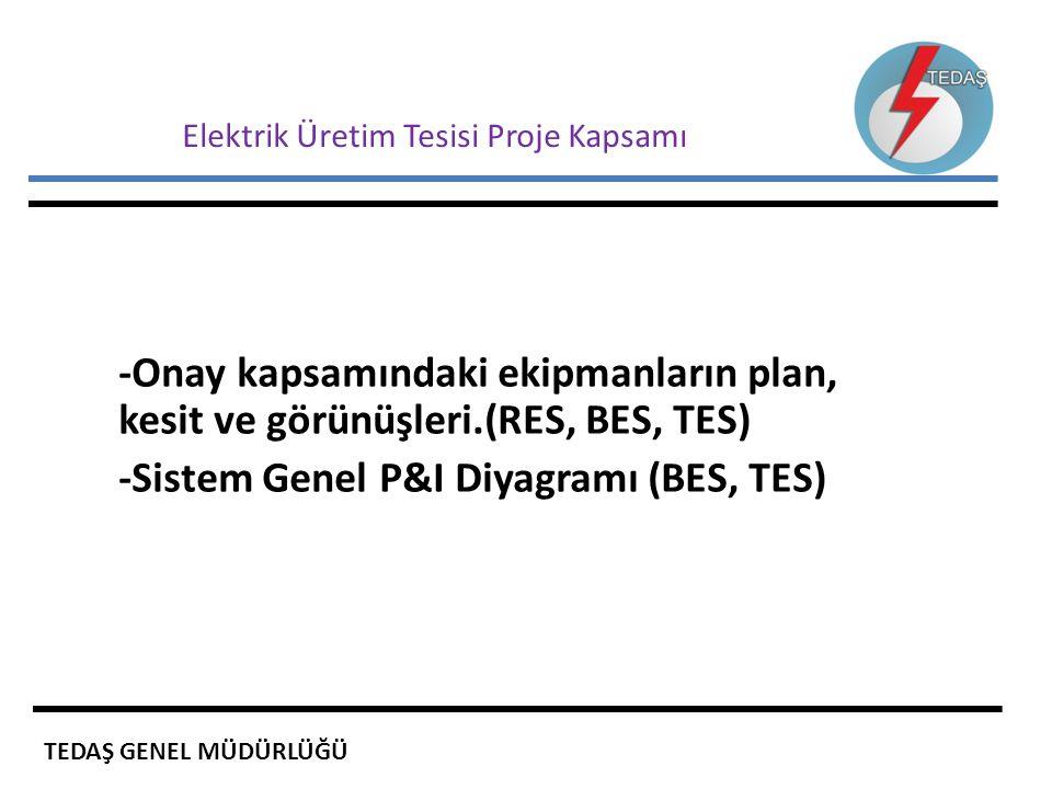 Elektrik Üretim Tesisi Proje Kapsamı -Onay kapsamındaki ekipmanların plan, kesit ve görünüşleri.(RES, BES, TES) -Sistem Genel P&I Diyagramı (BES, TES)