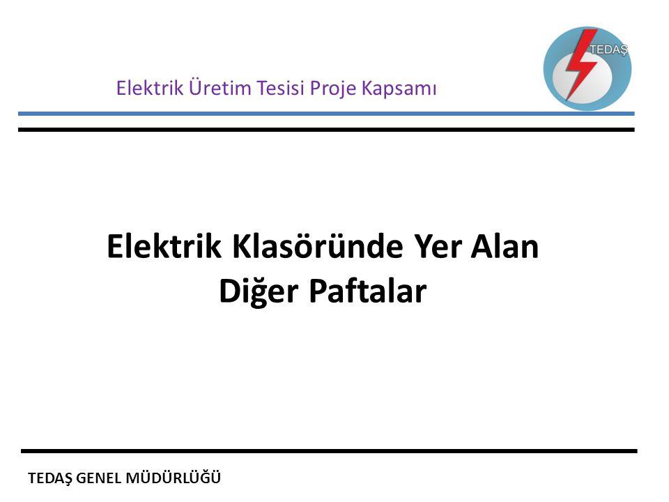 Elektrik Üretim Tesisi Proje Kapsamı Elektrik Klasöründe Yer Alan Diğer Paftalar TEDAŞ GENEL MÜDÜRLÜĞÜ