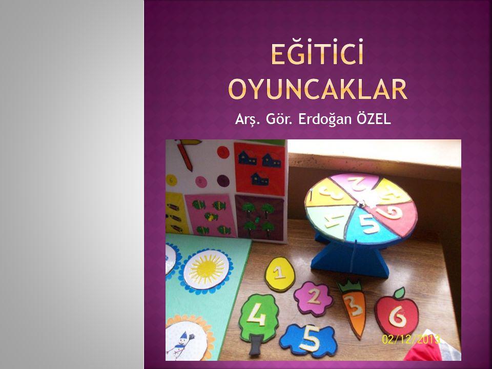  Demiral (1987) eğitici oyuncağı Çocukların daha çok zihinsel gelişimlerine katkıda bulunan, onların bazı kavramları geliştirmelerine ve oynayarak öğrenmelerine yardımcı olan masa oyuncakları olarak tanımlamaktadır.