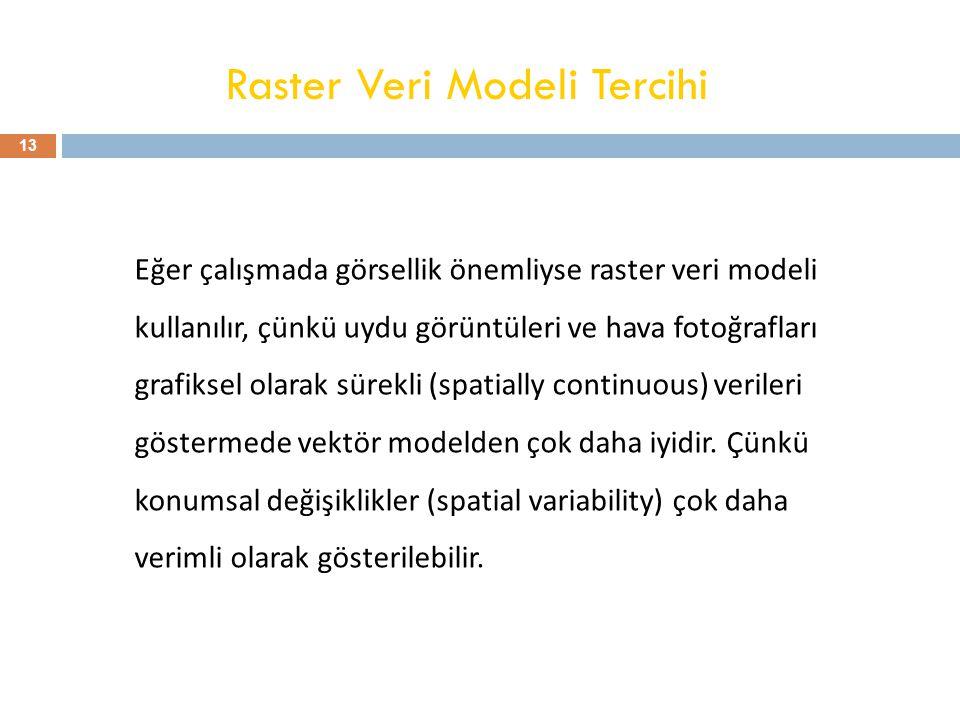 Raster Veri Modeli Tercihi Eğer çalışmada görsellik önemliyse raster veri modeli kullanılır, çünkü uydu görüntüleri ve hava fotoğrafları grafiksel ola