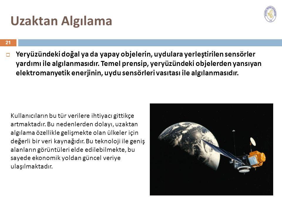 Uzaktan Algılama  Yeryüzündeki doğal ya da yapay objelerin, uydulara yerleştirilen sensörler yardımı ile algılanmasıdır. Temel prensip, yeryüzündeki