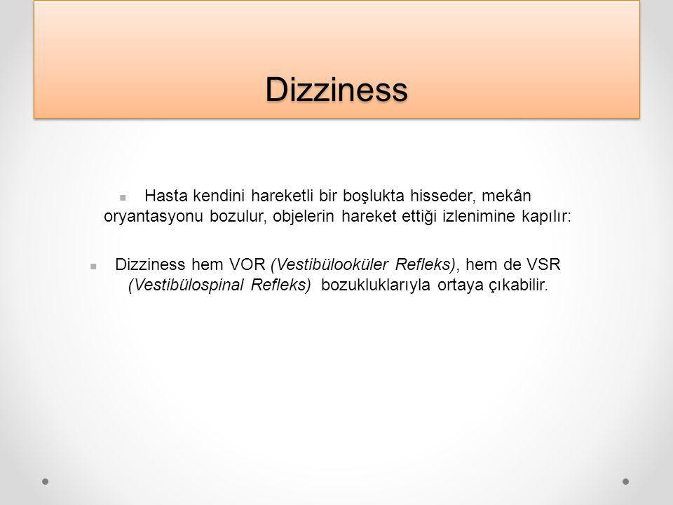 DizzinessDizziness Hasta kendini hareketli bir boşlukta hisseder, mekân oryantasyonu bozulur, objelerin hareket ettiği izlenimine kapılır: Dizziness hem VOR (Vestibülooküler Refleks), hem de VSR (Vestibülospinal Refleks) bozukluklarıyla ortaya çıkabilir.