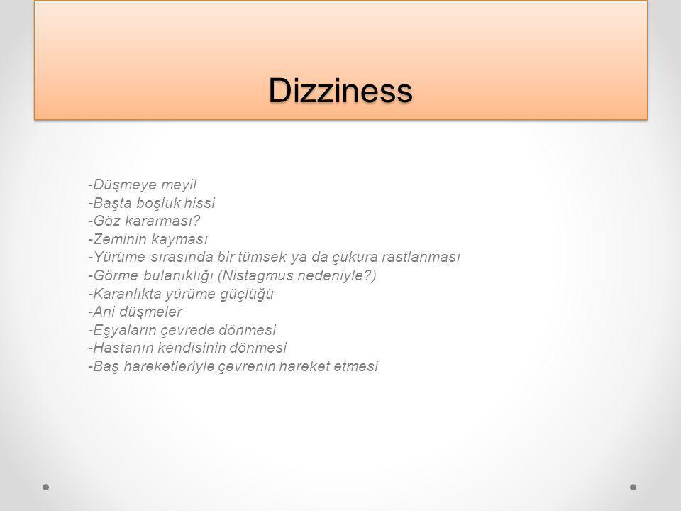DizzinessDizziness Hasta kendini hareketli bir boşlukta hisseder, mekân oryantasyonu bozulur, objelerin hareket ettiği izlenimine kapılır: Dizziness h
