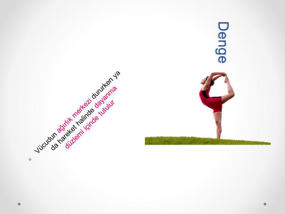 ağırlık merkezi dayanma düzlemi içinde tutulur Vücudun ağırlık merkezi dururken ya da hareket halinde dayanma düzlemi içinde tutulur D e n g e