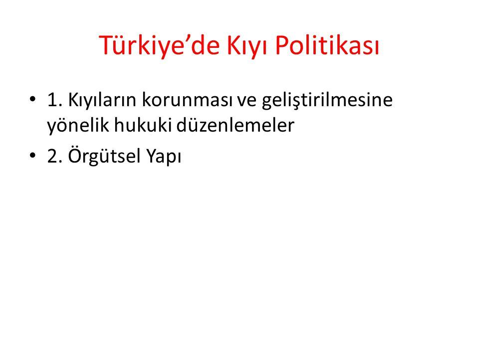 Türkiye'de Kıyı Politikası 1. Kıyıların korunması ve geliştirilmesine yönelik hukuki düzenlemeler 2. Örgütsel Yapı