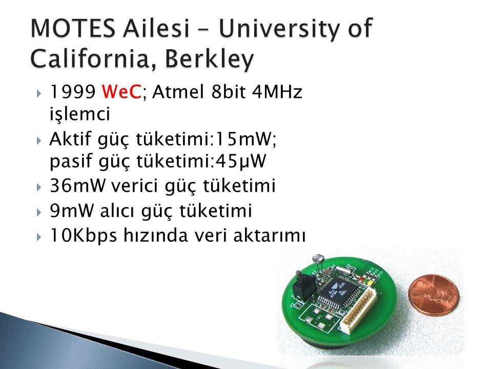  1999 WeC; Atmel 8bit 4MHz işlemci  Aktif güç tüketimi:15mW; pasif güç tüketimi:45µW  36mW verici güç tüketimi  9mW alıcı güç tüketimi  10Kbps hı