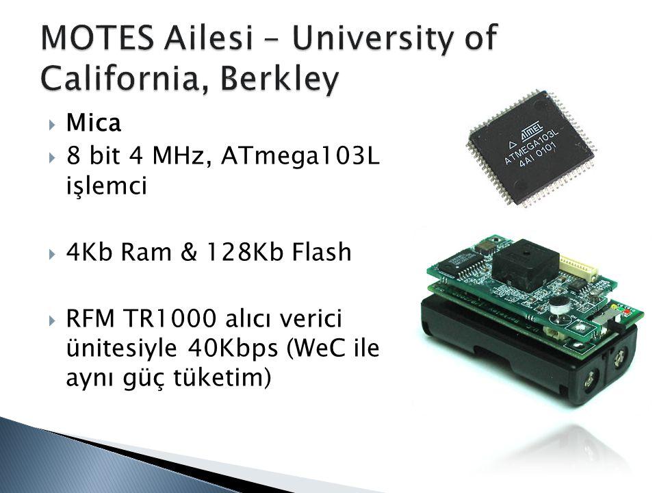  Mica  8 bit 4 MHz, ATmega103L işlemci  4Kb Ram & 128Kb Flash  RFM TR1000 alıcı verici ünitesiyle 40Kbps (WeC ile aynı güç tüketim)
