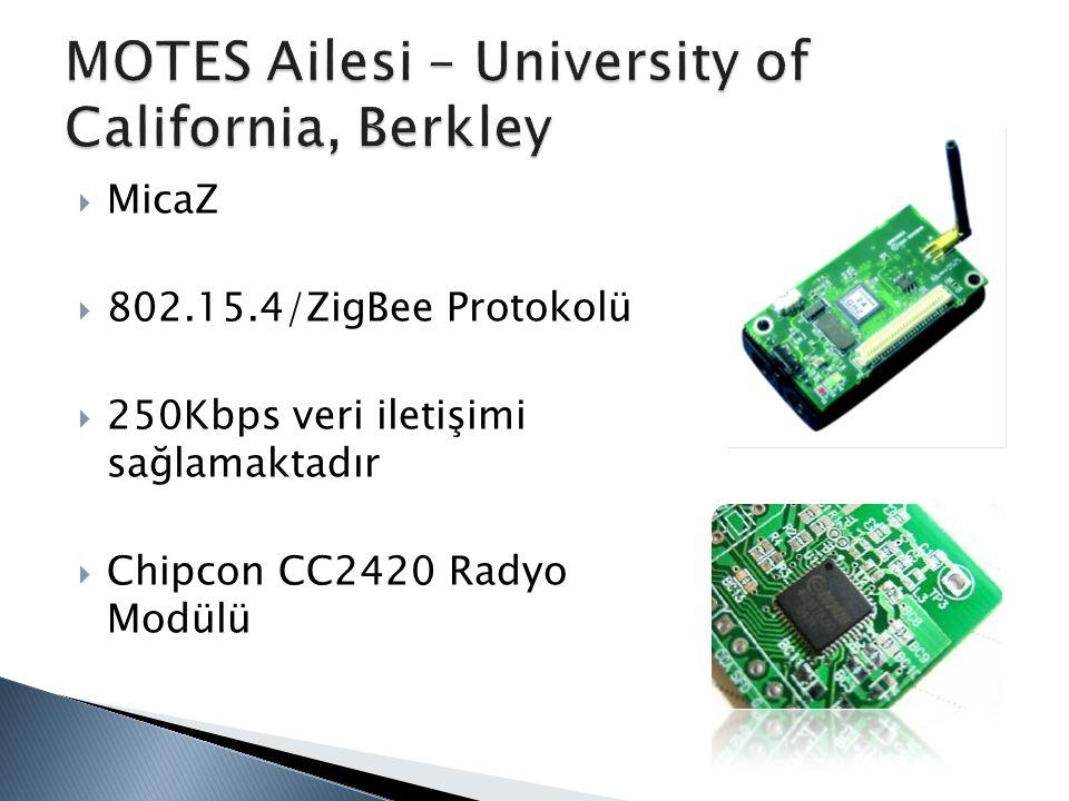  MicaZ  802.15.4/ZigBee Protokolü  250Kbps veri iletişimi sağlamaktadır  Chipcon CC2420 Radyo Modülü