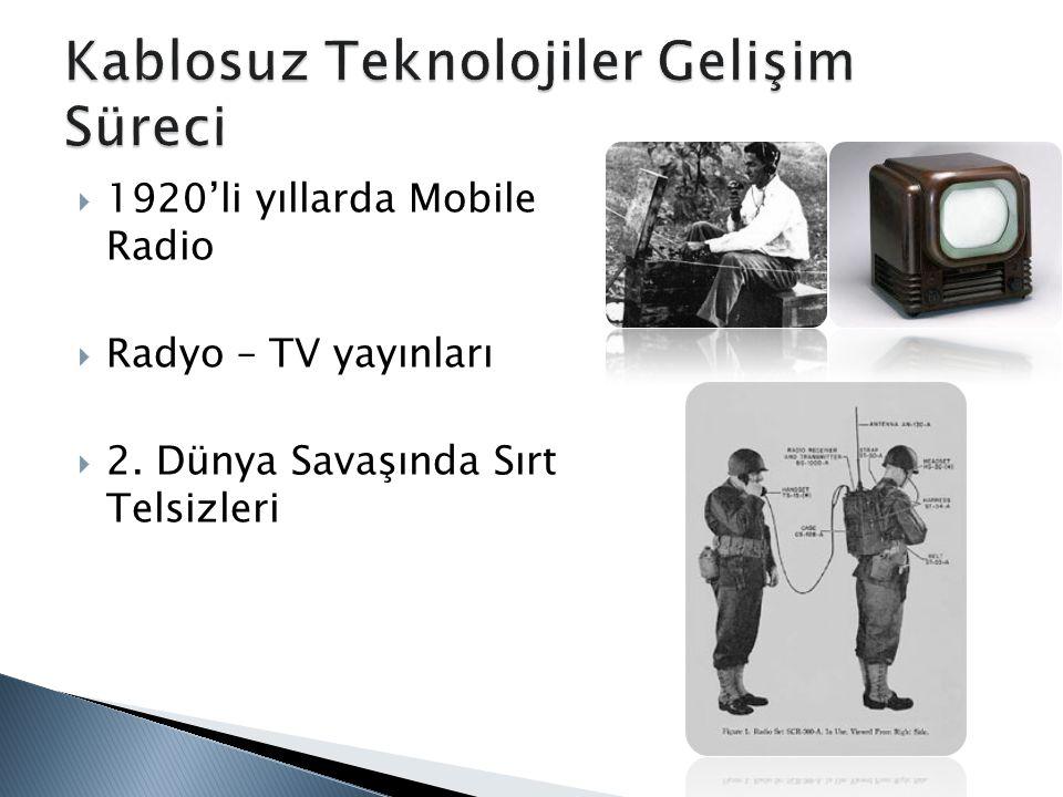  1920'li yıllarda Mobile Radio  Radyo – TV yayınları  2. Dünya Savaşında Sırt Telsizleri