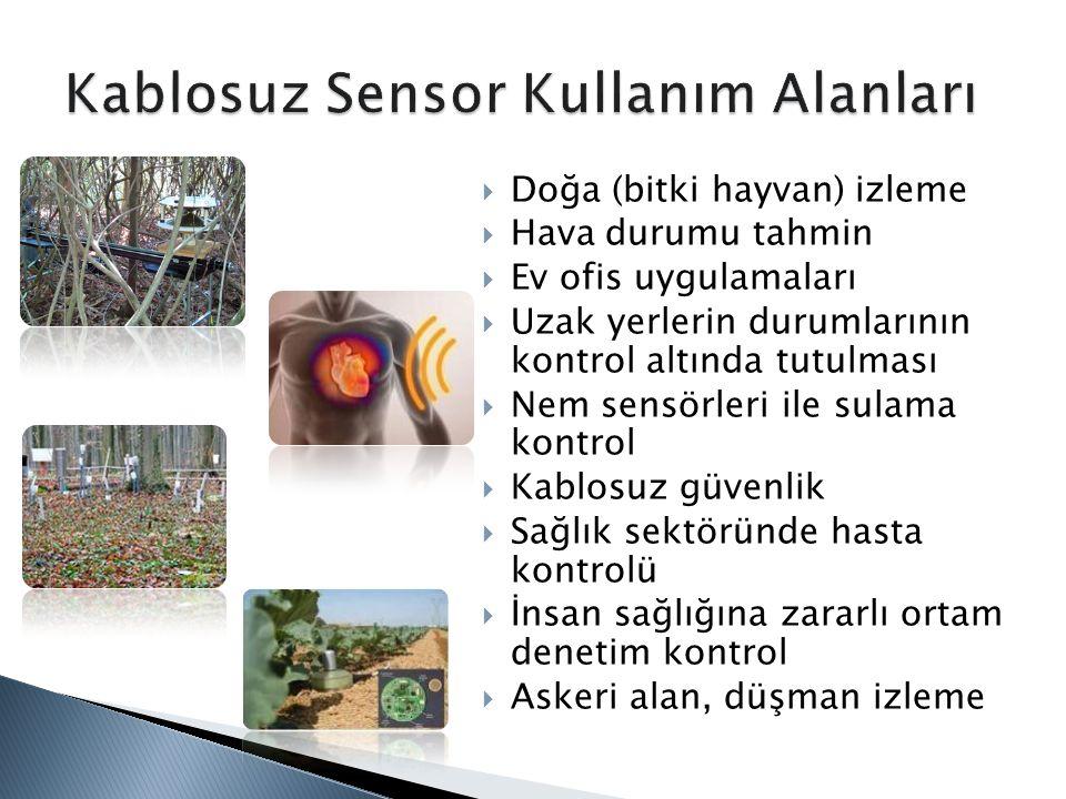  Doğa (bitki hayvan) izleme  Hava durumu tahmin  Ev ofis uygulamaları  Uzak yerlerin durumlarının kontrol altında tutulması  Nem sensörleri ile s