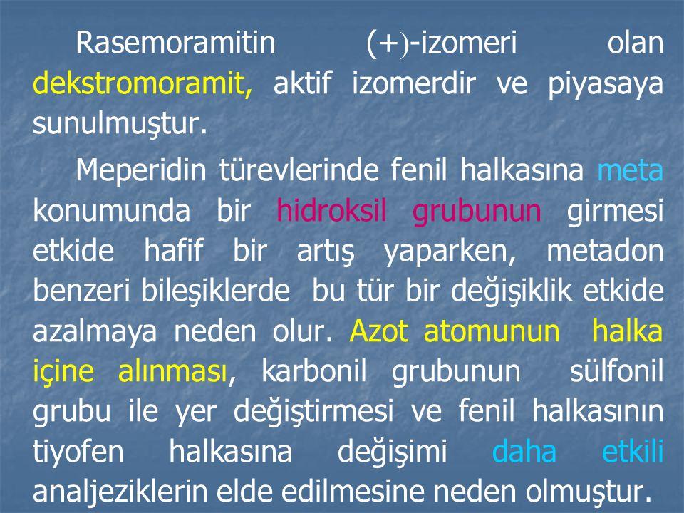 Rasemoramitin (+  -izomeri olan dekstromoramit, aktif izomerdir ve piyasaya sunulmuştur.