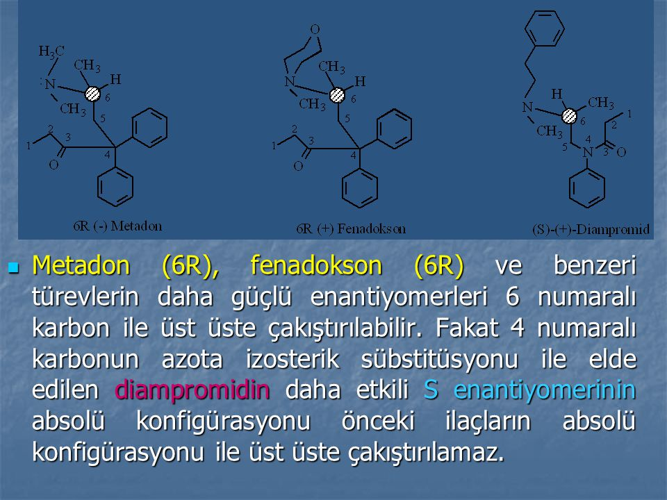 Metadon (6R), fenadokson (6R) ve benzeri türevlerin daha güçlü enantiyomerleri 6 numaralı karbon ile üst üste çakıştırılabilir.