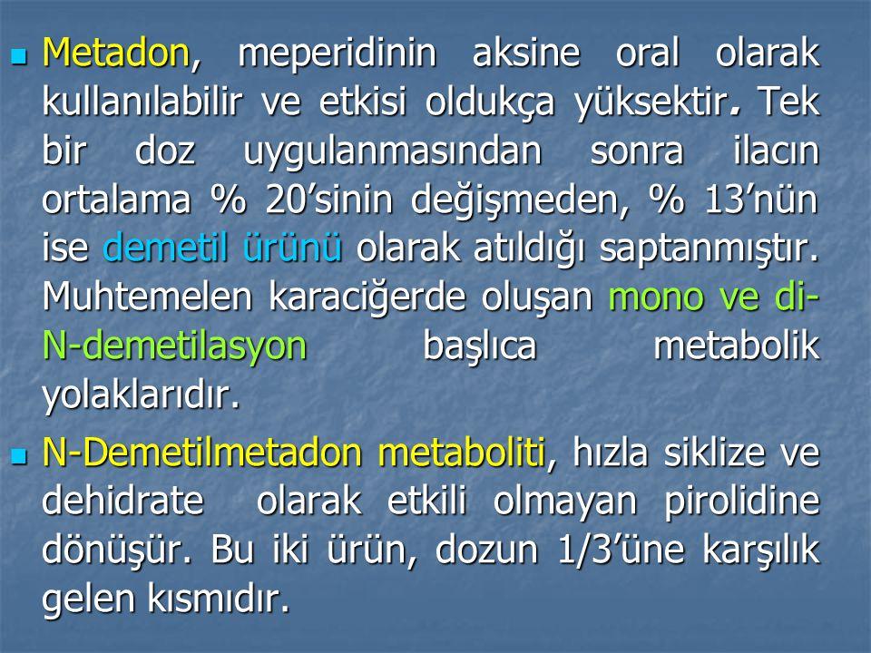 Metadon, meperidinin aksine oral olarak kullanılabilir ve etkisi oldukça yüksektir.
