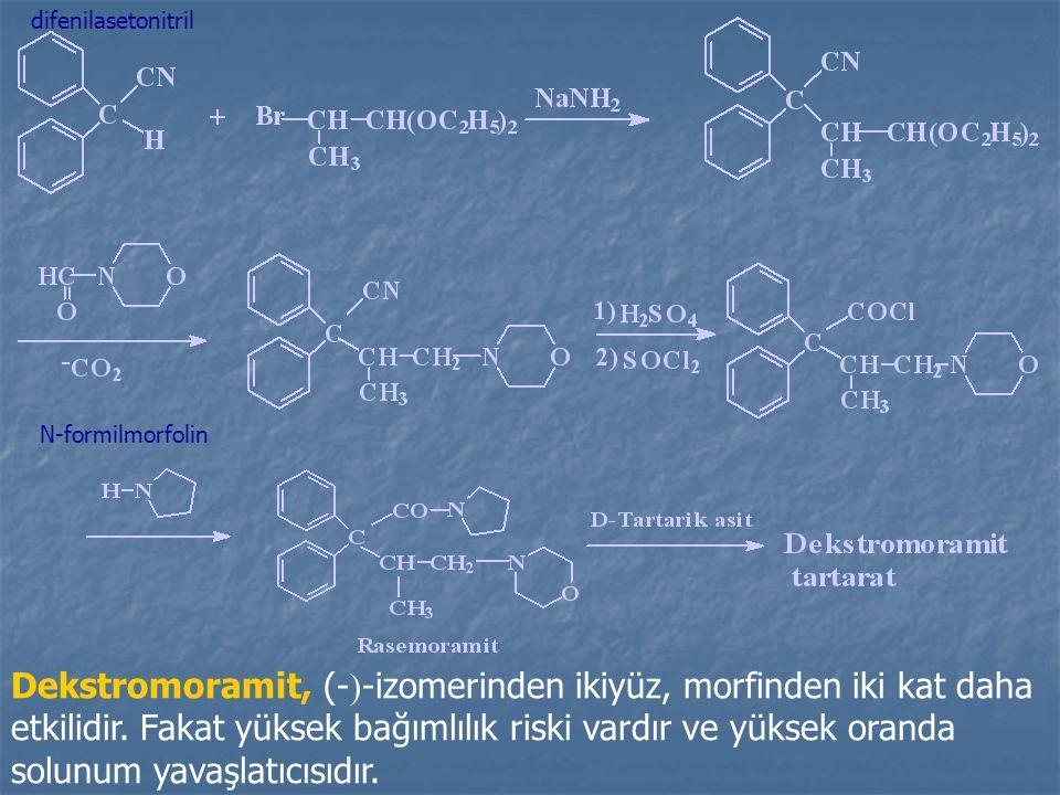 Dekstromoramit, (-  -izomerinden ikiyüz, morfinden iki kat daha etkilidir.