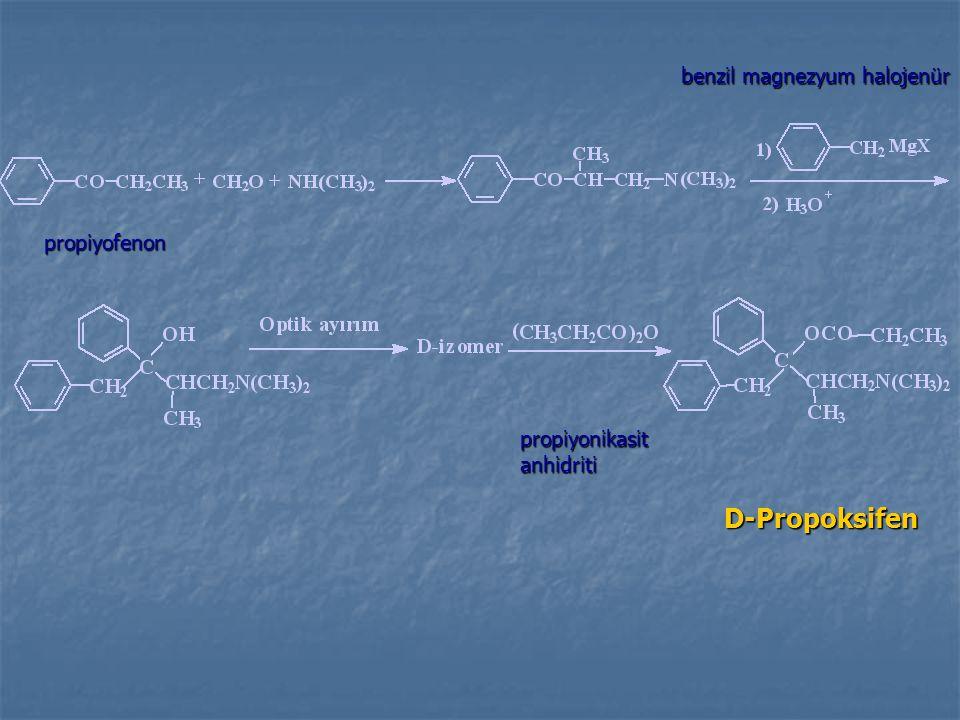 D-Propoksifen propiyofenon benzil magnezyum halojenür propiyonikasitanhidriti