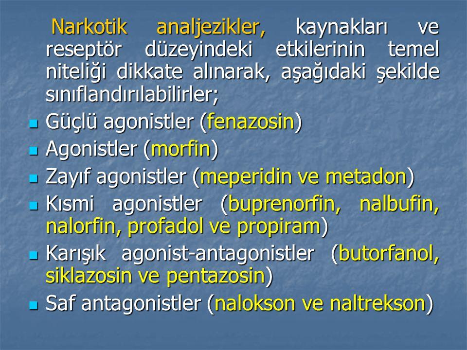 Narkotik analjezikler, kaynakları ve reseptör düzeyindeki etkilerinin temel niteliği dikkate alınarak, aşağıdaki şekilde sınıflandırılabilirler; Narkotik analjezikler, kaynakları ve reseptör düzeyindeki etkilerinin temel niteliği dikkate alınarak, aşağıdaki şekilde sınıflandırılabilirler; Güçlü agonistler (fenazosin) Güçlü agonistler (fenazosin) Agonistler (morfin) Agonistler (morfin) Zayıf agonistler (meperidin ve metadon) Zayıf agonistler (meperidin ve metadon) Kısmi agonistler (buprenorfin, nalbufin, nalorfin, profadol ve propiram) Kısmi agonistler (buprenorfin, nalbufin, nalorfin, profadol ve propiram) Karışık agonist-antagonistler (butorfanol, siklazosin ve pentazosin) Karışık agonist-antagonistler (butorfanol, siklazosin ve pentazosin) Saf antagonistler (nalokson ve naltrekson) Saf antagonistler (nalokson ve naltrekson)