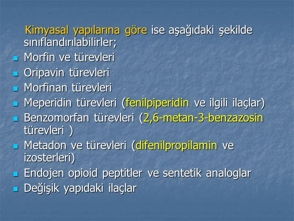 Kimyasal yapılarına göre ise aşağıdaki şekilde sınıflandırılabilirler; Kimyasal yapılarına göre ise aşağıdaki şekilde sınıflandırılabilirler; Morfin ve türevleri Morfin ve türevleri Oripavin türevleri Oripavin türevleri Morfinan türevleri Morfinan türevleri Meperidin türevleri (fenilpiperidin ve ilgili ilaçlar) Meperidin türevleri (fenilpiperidin ve ilgili ilaçlar) Benzomorfan türevleri (2,6-metan-3-benzazosin türevleri ) Benzomorfan türevleri (2,6-metan-3-benzazosin türevleri ) Metadon ve türevleri (difenilpropilamin ve izosterleri) Metadon ve türevleri (difenilpropilamin ve izosterleri) Endojen opioid peptitler ve sentetik analoglar Endojen opioid peptitler ve sentetik analoglar Değişik yapıdaki ilaçlar Değişik yapıdaki ilaçlar