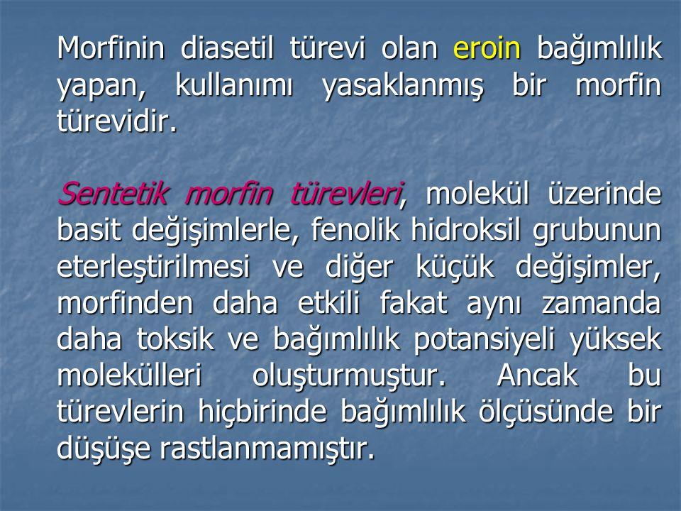 Morfinin diasetil türevi olan eroin bağımlılık yapan, kullanımı yasaklanmış bir morfin türevidir.