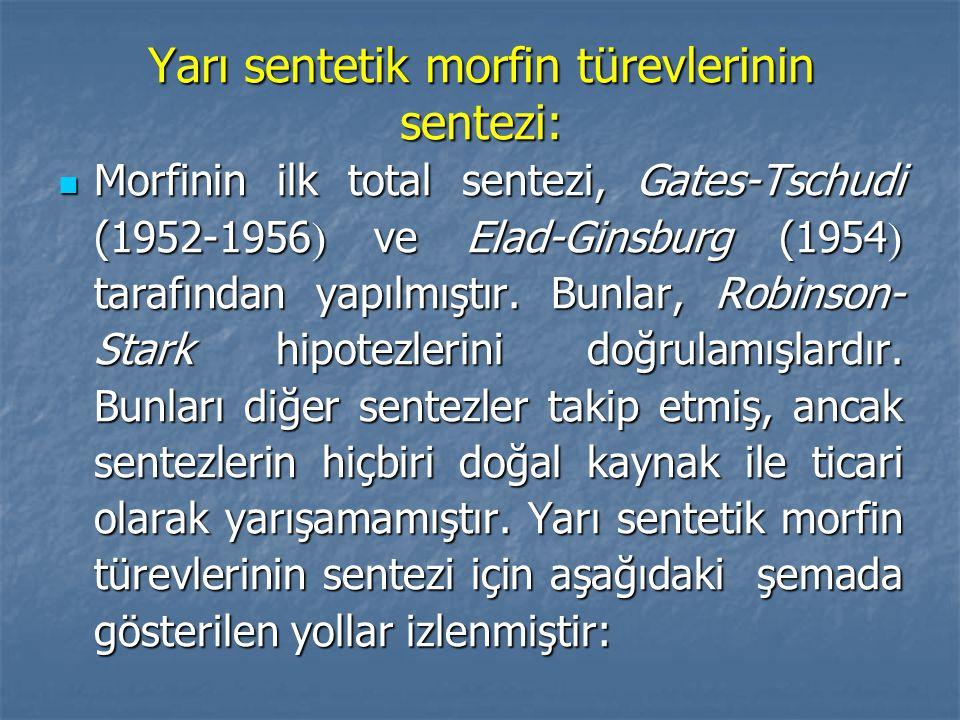 Yarı sentetik morfin türevlerinin sentezi: Morfinin ilk total sentezi, Gates-Tschudi (1952-1956  ve Elad-Ginsburg (1954  tarafından yapılmıştır.