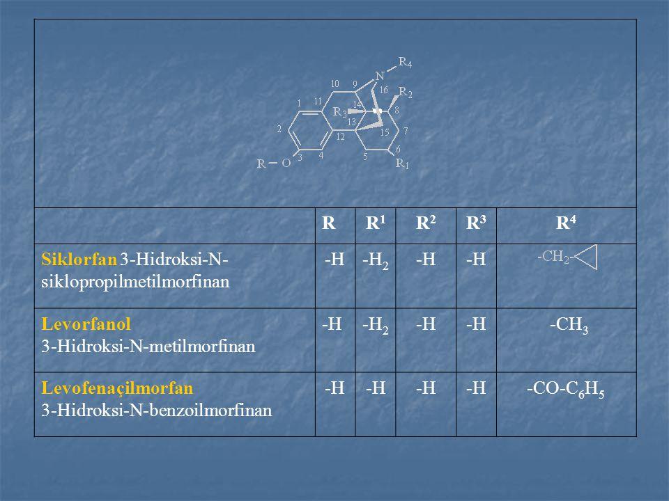 RR1R1 R2R2 R3R3 R4R4 Siklorfan 3-Hidroksi-N- siklopropilmetilmorfinan -H-H 2 -H Levorfanol 3-Hidroksi-N-metilmorfinan -H-H 2 -H -CH 3 Levofenaçilmorfan 3-Hidroksi-N-benzoilmorfinan -H -CO-C 6 H 5