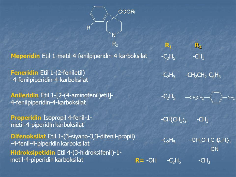 Meperidin Etil 1-metil-4-fenilpiperidin-4-karboksilat R1R1 R2R2R2R2 -C 2 H 5 -CH 3 Feneridin Etil 1-(2-feniletil) -4-fenilpiperidin-4-karboksilat -CH 2 CH 2 -C 6 H 5 -C 2 H 5 Anileridin Etil 1-[2-(4-aminofenil)etil]- 4-fenilpiperidin-4-karboksilat Properidin İsopropil 4-fenil-1- metil-4-piperidin karboksilat -CH(CH 3  2 -CH 3 Difenoksilat Etil 1-(3-siyano-3,3-difenil-propil) -4-fenil-4-piperidin karboksilat -C 2 H 5 -CH 3 Hidroksipetidin Etil 4-(3-hidroksifenil)-1- metil-4-piperidin karboksilat R= -OH