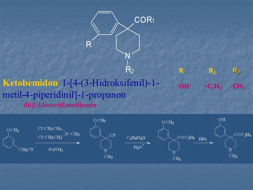 Ketobemidon 1-[4-(3-Hidroksifenil)-1- metil-4-piperidinil]-1-propanon R1R1 R2R2R2R2 R -OH -C 2 H 5 -CH 3 di(  -kloroetil)metilamin