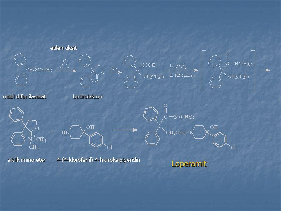 Loperamit metil difenilasetat etilen oksit butirolakton siklik imino eter 4-(4-klorofenil)-4-hidroksipiperidin