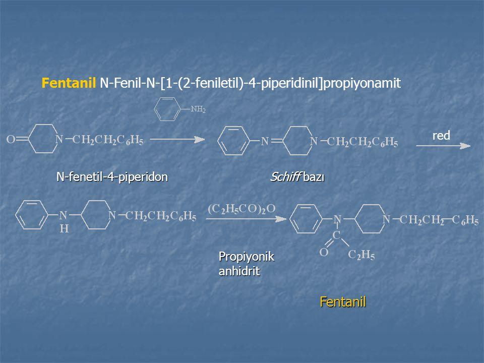 Fentanil N-fenetil-4-piperidon Schiff bazı Propiyonikanhidrit red Fentanil N-Fenil-N-[1-(2-feniletil)-4-piperidinil]propiyonamit