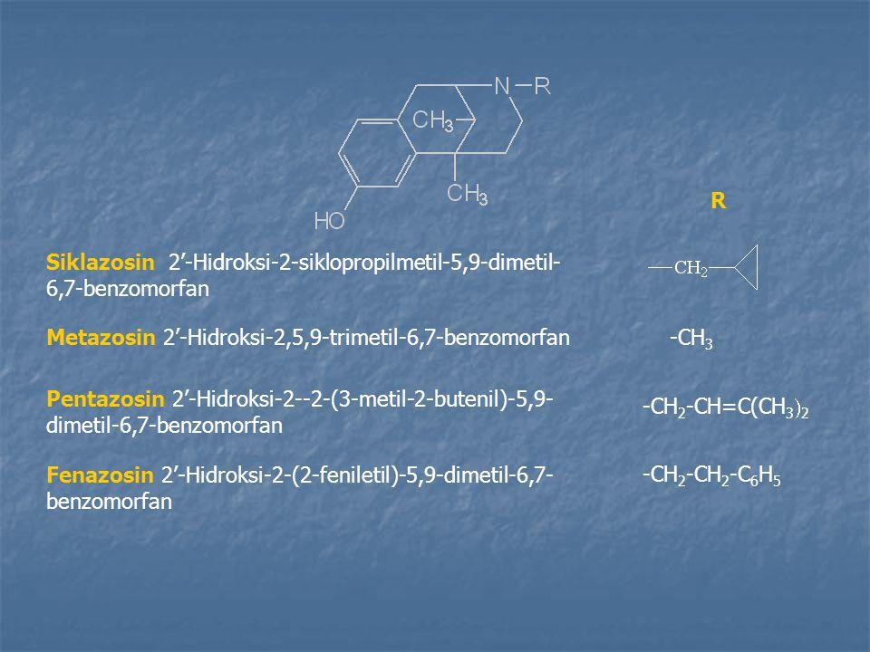 Siklazosin 2'-Hidroksi-2-siklopropilmetil-5,9-dimetil- 6,7-benzomorfan Metazosin 2'-Hidroksi-2,5,9-trimetil-6,7-benzomorfan Pentazosin 2'-Hidroksi-2--2-(3-metil-2-butenil)-5,9- dimetil-6,7-benzomorfan Fenazosin 2'-Hidroksi-2-(2-feniletil)-5,9-dimetil-6,7- benzomorfan -CH 3 -CH 2 -CH=C(CH 3  2 -CH 2 -CH 2 -C 6 H 5 R