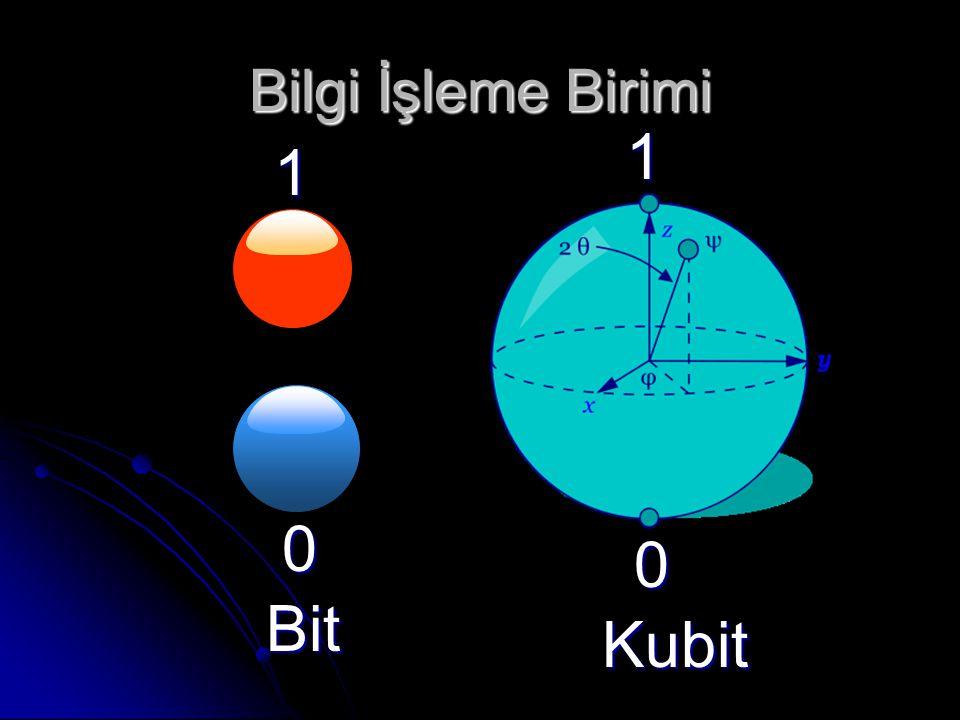 Bilgi İşleme Birimi 1 0 1 0 Bit Kubit