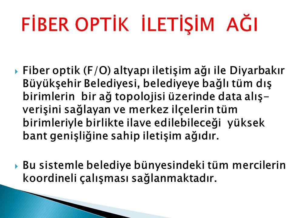  Fiber optik (F/O) altyapı iletişim ağı ile Diyarbakır Büyükşehir Belediyesi, belediyeye bağlı tüm dış birimlerin bir ağ topolojisi üzerinde data alı