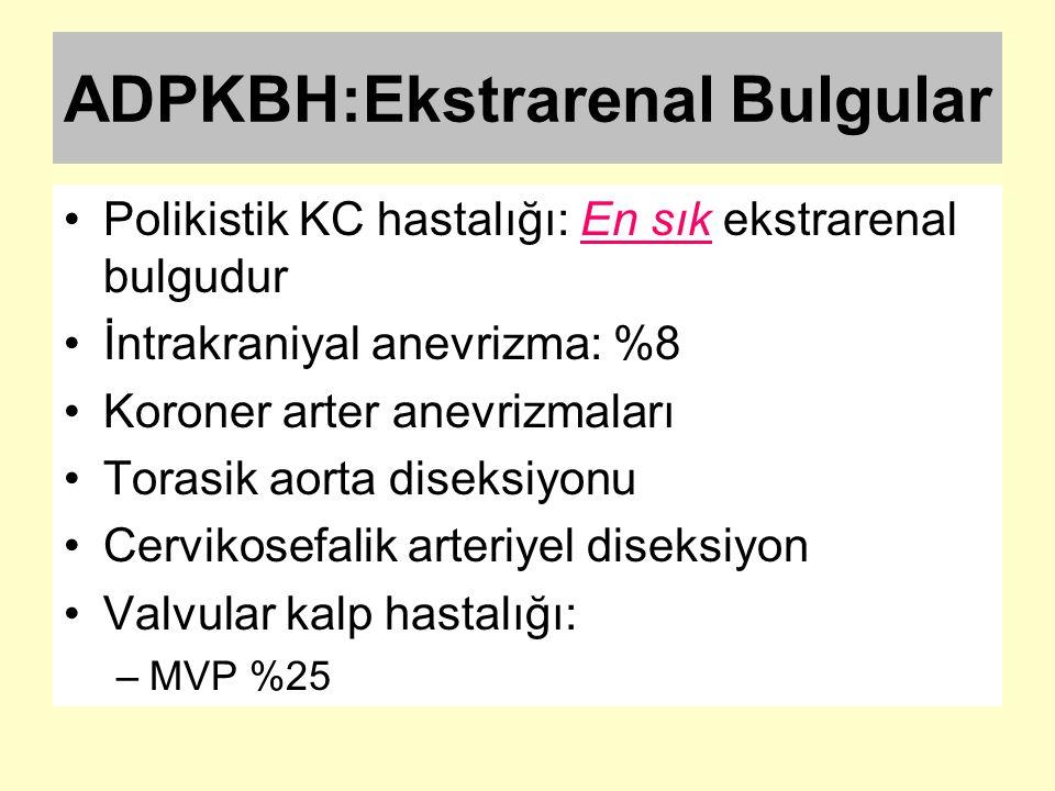 ADPKBH:Ekstrarenal Bulgular Polikistik KC hastalığı: En sık ekstrarenal bulgudur İntrakraniyal anevrizma: %8 Koroner arter anevrizmaları Torasik aorta