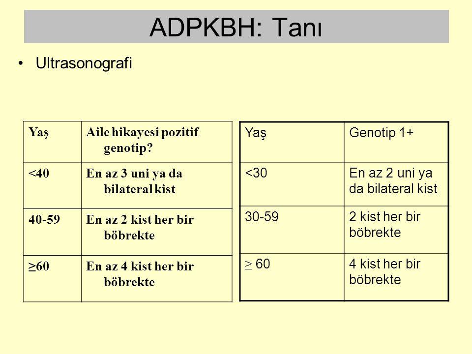 ADPKBH: Tanı YaşAile hikayesi pozitif genotip? <40En az 3 uni ya da bilateral kist 40-59En az 2 kist her bir böbrekte ≥60En az 4 kist her bir böbrekte