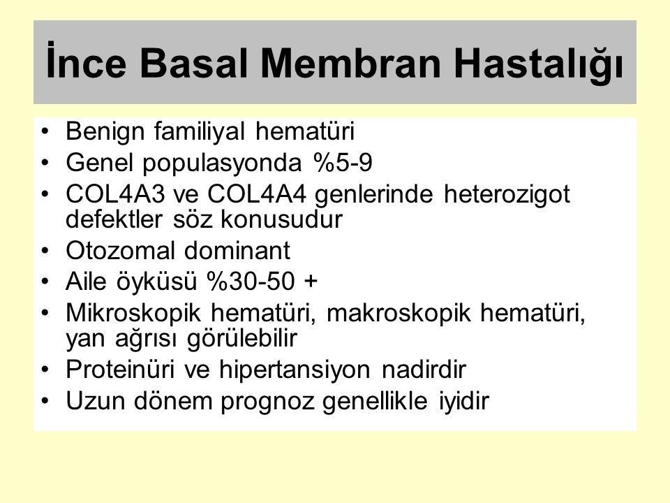 İnce Basal Membran Hastalığı Benign familiyal hematüri Genel populasyonda %5-9 COL4A3 ve COL4A4 genlerinde heterozigot defektler söz konusudur Otozoma