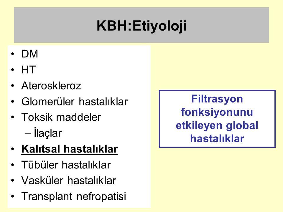 KBH:Etiyoloji DM HT Ateroskleroz Glomerüler hastalıklar Toksik maddeler –İlaçlar Kalıtsal hastalıklar Tübüler hastalıklar Vasküler hastalıklar Transpl