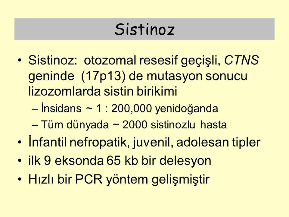 Sistinoz Sistinoz: otozomal resesif geçişli, CTNS geninde (17p13) de mutasyon sonucu lizozomlarda sistin birikimi –İnsidans ~ 1 : 200,000 yenidoğanda