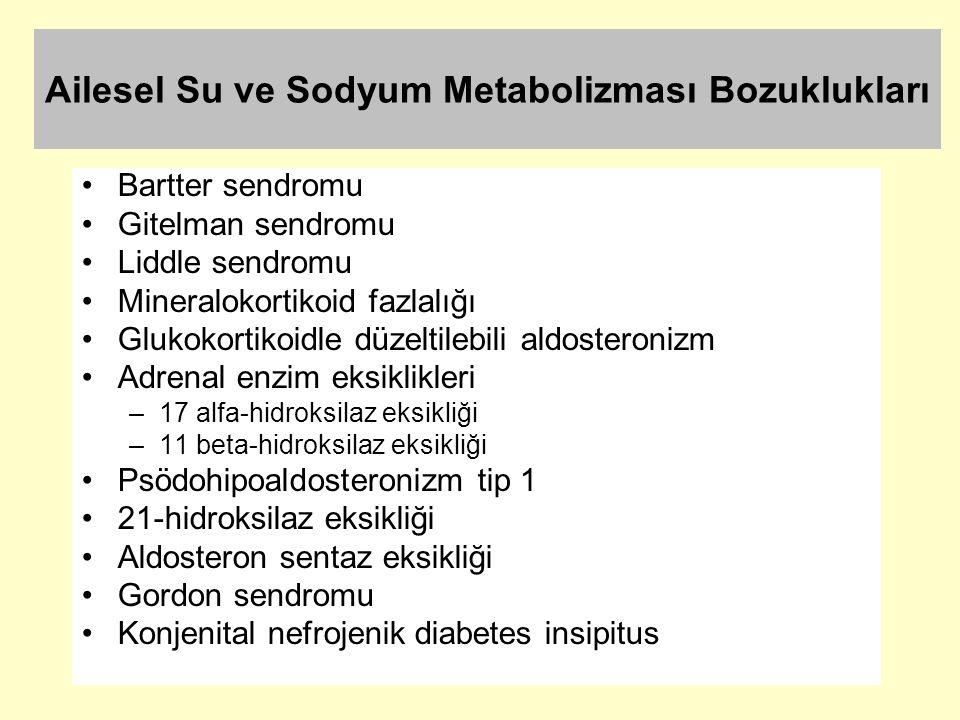 Ailesel Su ve Sodyum Metabolizması Bozuklukları Bartter sendromu Gitelman sendromu Liddle sendromu Mineralokortikoid fazlalığı Glukokortikoidle düzelt