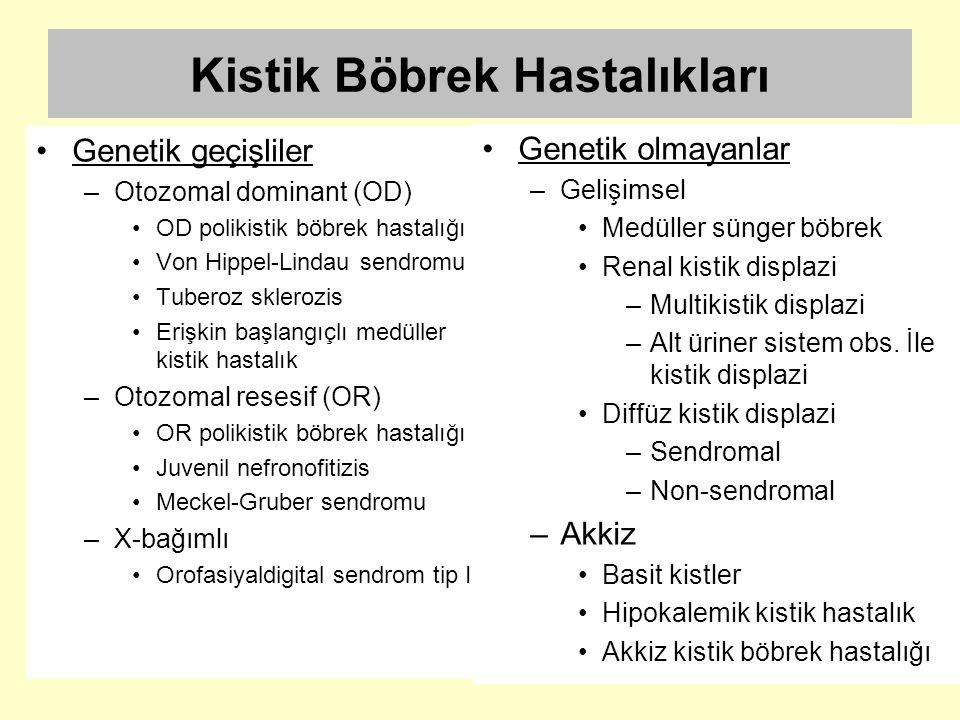 Kistik Böbrek Hastalıkları Genetik geçişliler –Otozomal dominant (OD) OD polikistik böbrek hastalığı Von Hippel-Lindau sendromu Tuberoz sklerozis Eriş