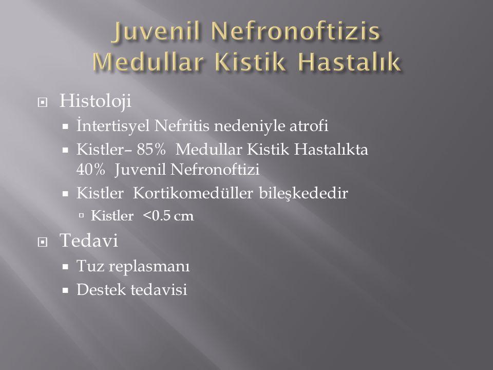  Histoloji  İntertisyel Nefritis nedeniyle atrofi  Kistler– 85% Medullar Kistik Hastalıkta 40% Juvenil Nefronoftizi  Kistler Kortikomedüller bileş