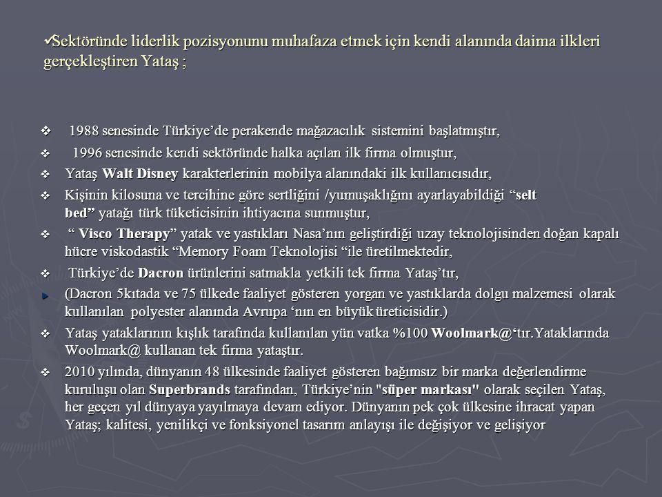  Vizyon: ► Yataş Grup olarak 2015 yılında yurt içi ve yurt dışı satış ciromuzla sektörün ilk üç, Türkiye' nin ilk yüz sanayi kuruluşu arasında yer almak.