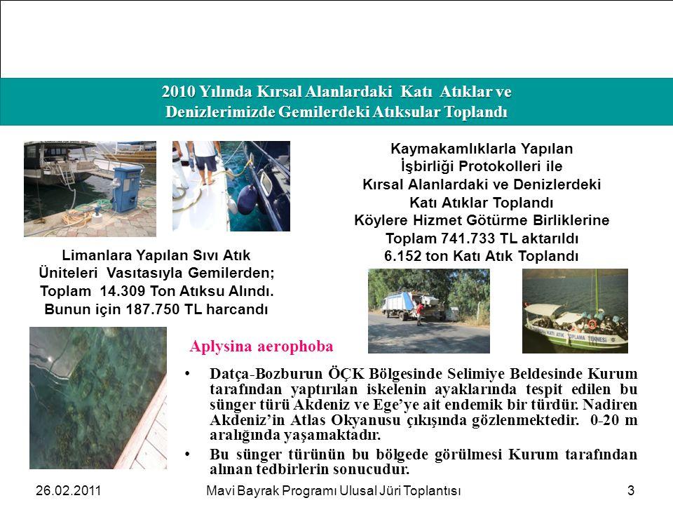 HAFIZAMIZI TAZELEYELİM 2010 Yılında Kırsal Alanlardaki Katı Atıklar ve Denizlerimizde Gemilerdeki Atıksular Toplandı 326.02.2011Mavi Bayrak Programı U
