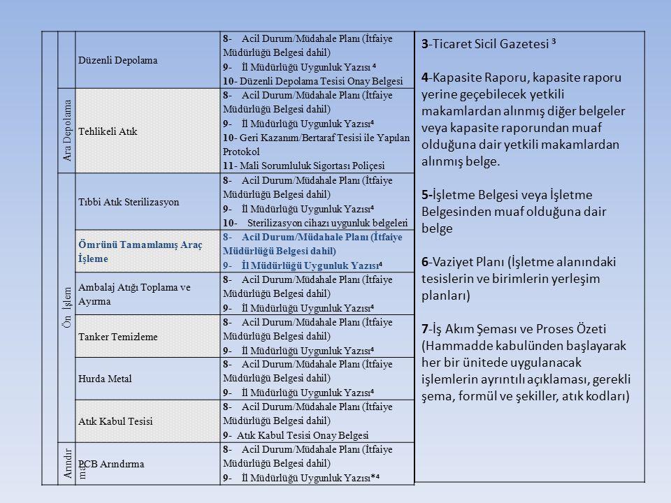 3-Ticaret Sicil Gazetesi 3 4-Kapasite Raporu, kapasite raporu yerine geçebilecek yetkili makamlardan alınmış diğer belgeler veya kapasite raporundan m