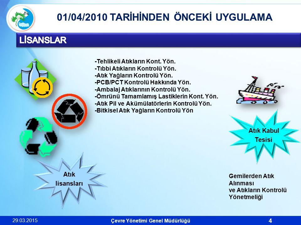 Çevre Yönetimi Genel Müdürlüğü 5 01/04/2010 TARİHİNDEN İTİBAREN 29.03.2015