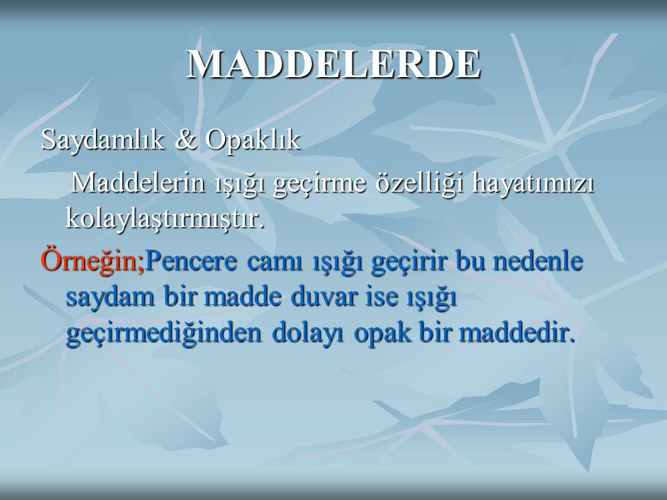 MADDELERDE Saydamlık & Opaklık Maddelerin ışığı geçirme özelliği hayatımızı kolaylaştırmıştır. Maddelerin ışığı geçirme özelliği hayatımızı kolaylaştı