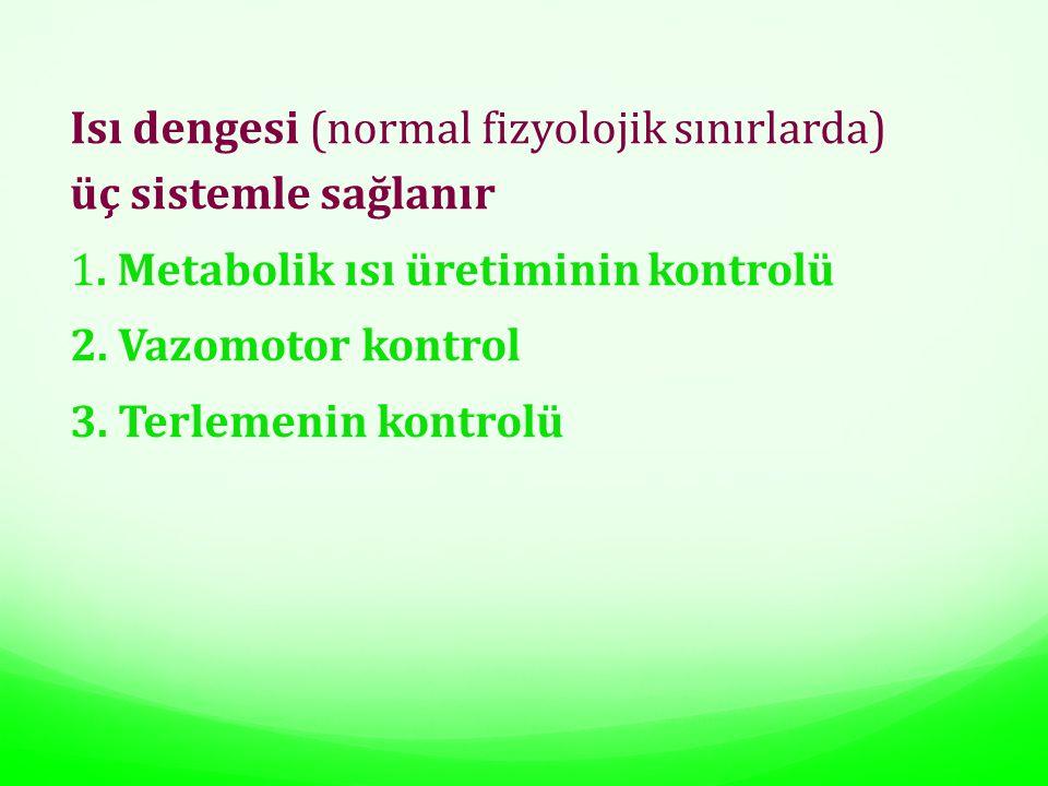 Isı dengesi (normal fizyolojik sınırlarda) üç sistemle sağlanır 1. Metabolik ısı üretiminin kontrolü 2. Vazomotor kontrol 3. Terlemenin kontrolü