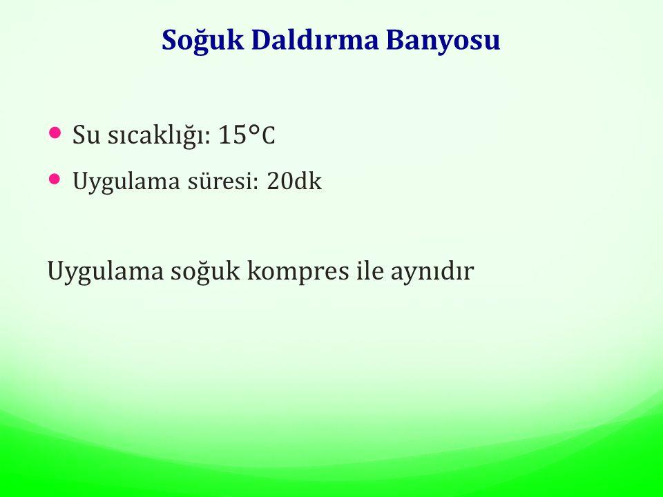 Soğuk Daldırma Banyosu Su sıcaklığı: 15 °C Uygulama süresi: 20dk Uygulama soğuk kompres ile aynıdır