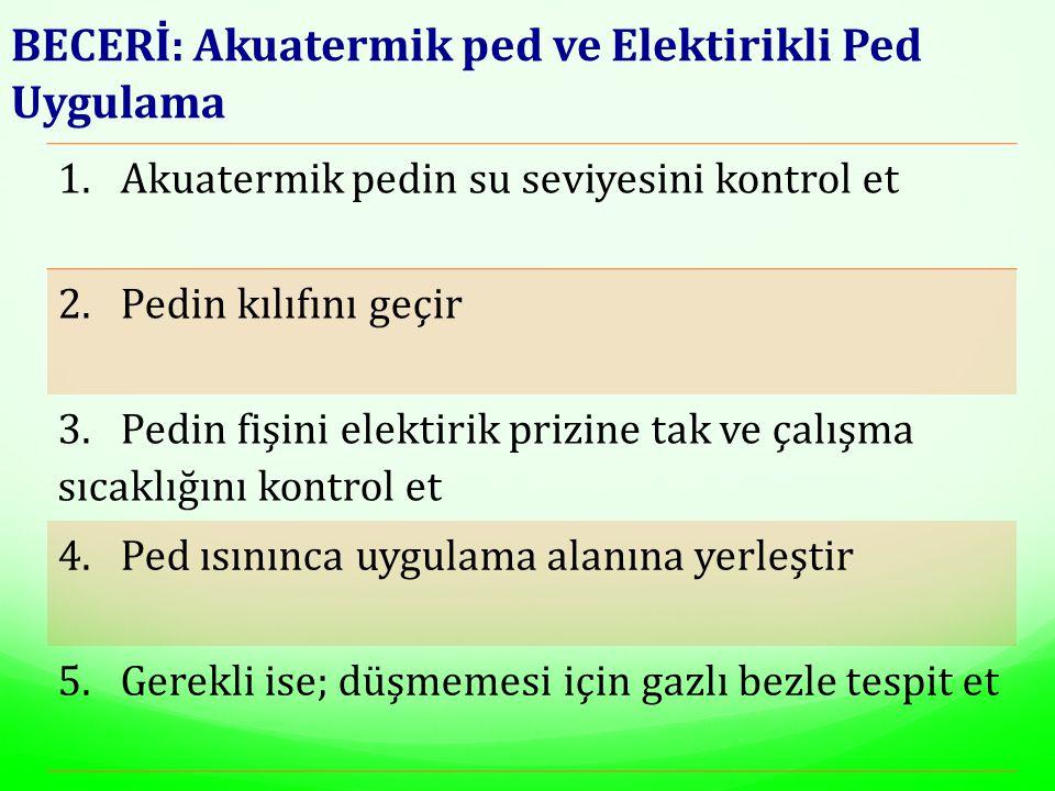 BECERİ: Akuatermik ped ve Elektirikli Ped Uygulama 1. Akuatermik pedin su seviyesini kontrol et 2. Pedin kılıfını geçir 3. Pedin fişini elektirik priz